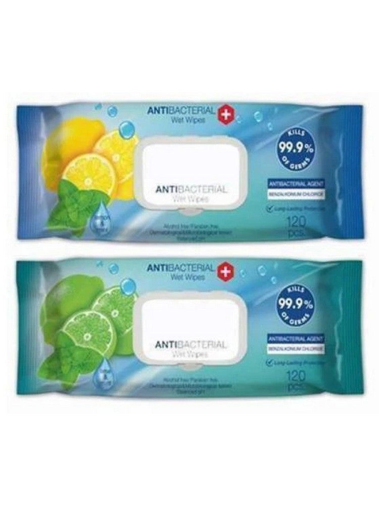 5 x Anti Bacterial Wipes (large 120 pack - 600 wipes in total) - IN STOCK (Free Postage and Packaging) - From £9.99ea EX VAT)