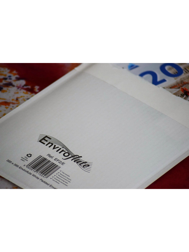 Black Print Onto 220 x 265mm Enviroflute Eco-friendly Padded Bag EF2/E