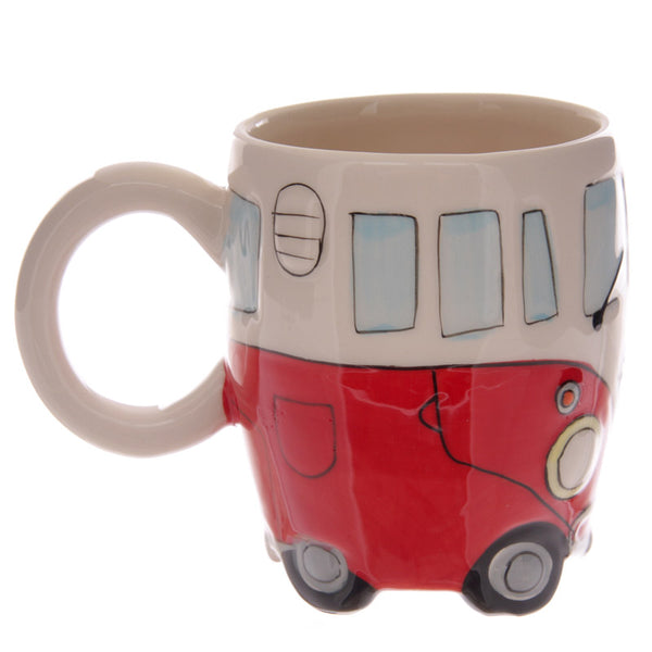 Funky Novelty Red Camper Van Design Ceramic Mug
