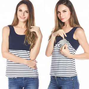 stripe Nursing T-shirt Breastfeeding Tops  Sleeveless Pregnancy Clothes - Childzstuff