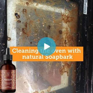 Demonstration of how Soapbark extract naturally cleans the oven