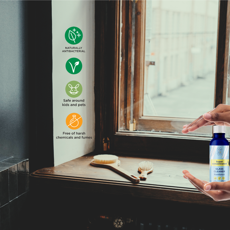 Cleanclean natural concentrated window cleaner naturally antibacterial. concentrated window cleaner with no harsh chemicals, concentrated window cleaner with natural fragrance