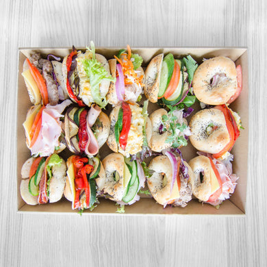 Savoury mini bagels box (assorted fillings) | Mushroom Catering, Sydney's Premier Corporate, Private and Event Caterers