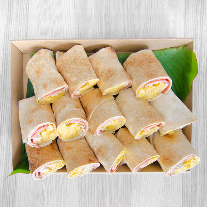Crispy bacon & egg Breakfast Wrap box (served warm) | Mushroom Catering, Sydney's Premier Corporate, Private and Event Caterers