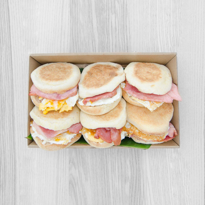 Bacon & Egg Muffin box (served warm) | Mushroom Catering, Sydney's Premier Corporate, Private and Event Caterers