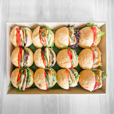 Grilled haloumi w grilled seasonal vegetable & pesto roll box | Mushroom Catering, Sydney's Premier Corporate, Private and Event Caterers