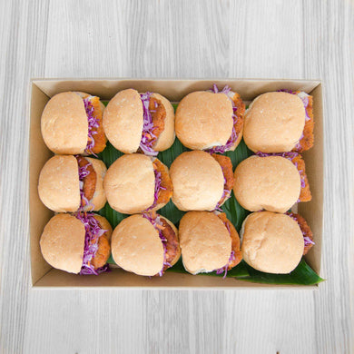 Chicken Schnitzel sliders w Mexican slaw box | Mushroom Catering, Sydney's Premier Corporate, Private and Event Caterers
