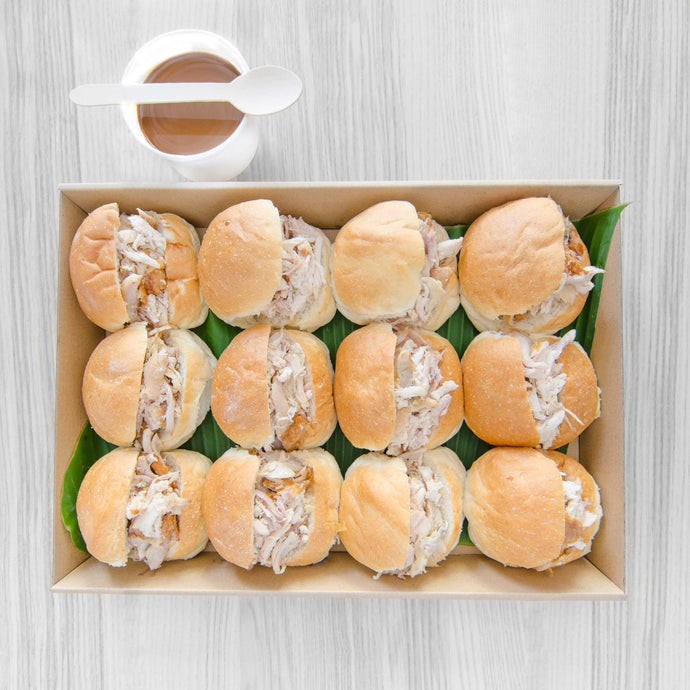 Roast Chicken roll with gravy box (served warm) | Mushroom Catering, Sydney's Premier Corporate, Private and Event Caterers
