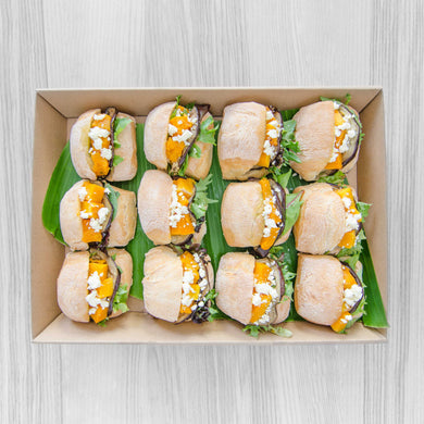 Roast pumpkin grilled eggplant, pesto & goats cheese roll box | Mushroom Catering, Sydney's Premier Corporate, Private and Event Caterers