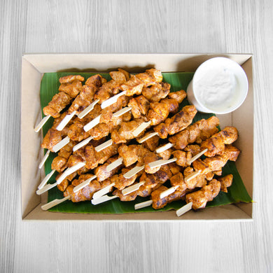 Tandoori chicken skewers w/ minted yoghurt dipping box (served warm) | Mushroom Catering