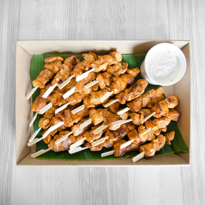 Tandoori chicken skewers w/ minted yoghurt dipping box (served warm) | Mushroom Catering, Sydney's Premier Corporate, Private and Event Caterers