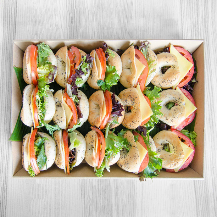 Breakfast petite cheese, tomato & mix leaf bagel box | Mushroom Catering