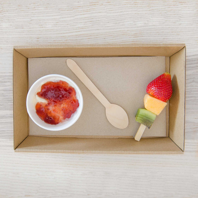 Breakfast package Including - 8oz Yoghurt pot topped with berry compote & seasonal fruit skewer | Mushroom Catering