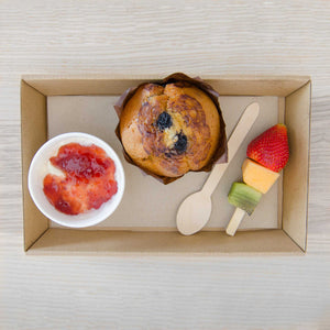 Breakfast package Including - 8oz Yoghurt pot topped with berry compote, fruit muffin & seasonal fruit skewer