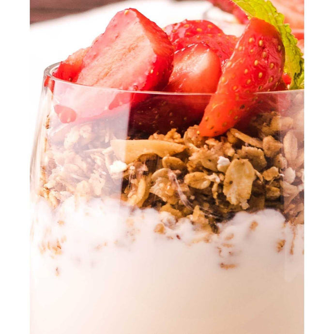 Yoghurt & fresh strawberry granola cup (8oz) |  Mushroom Catering, Sydney's Premier Corporate, Private and Event Caterers