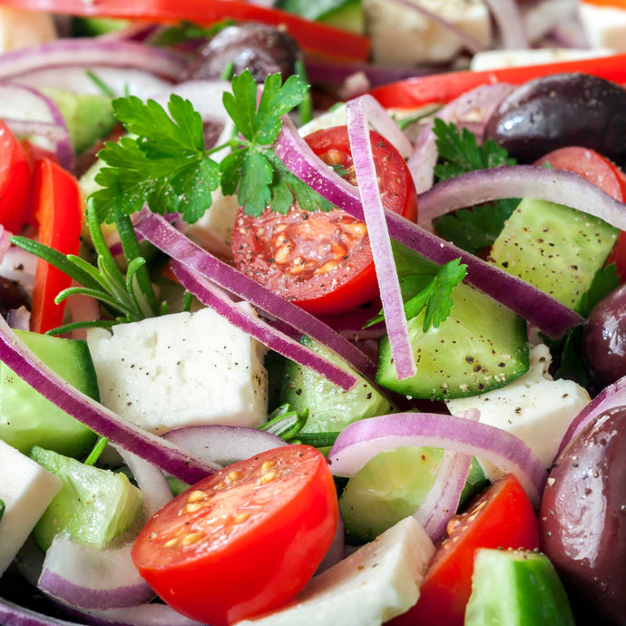 Traditional Greek Salad w/ dressing | Mushroom Catering, Sydney's Premier Corporate, Private and Event Caterers