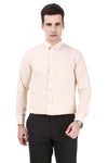 Solid Tailored Fit Cream Cotton Shirt