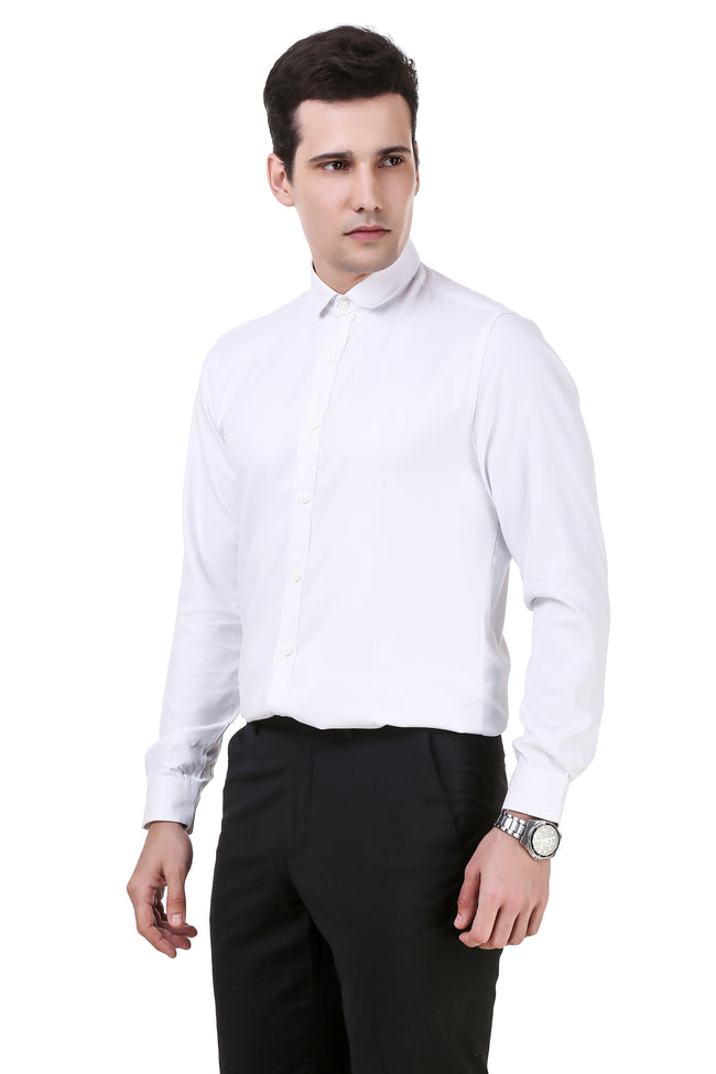 Solid Tailored Fit White Cotton Shirt