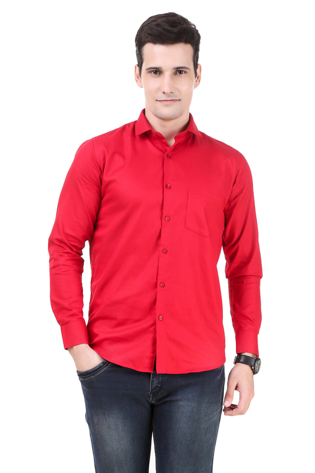 Solid Tailored Fit Red Cotton Shirt