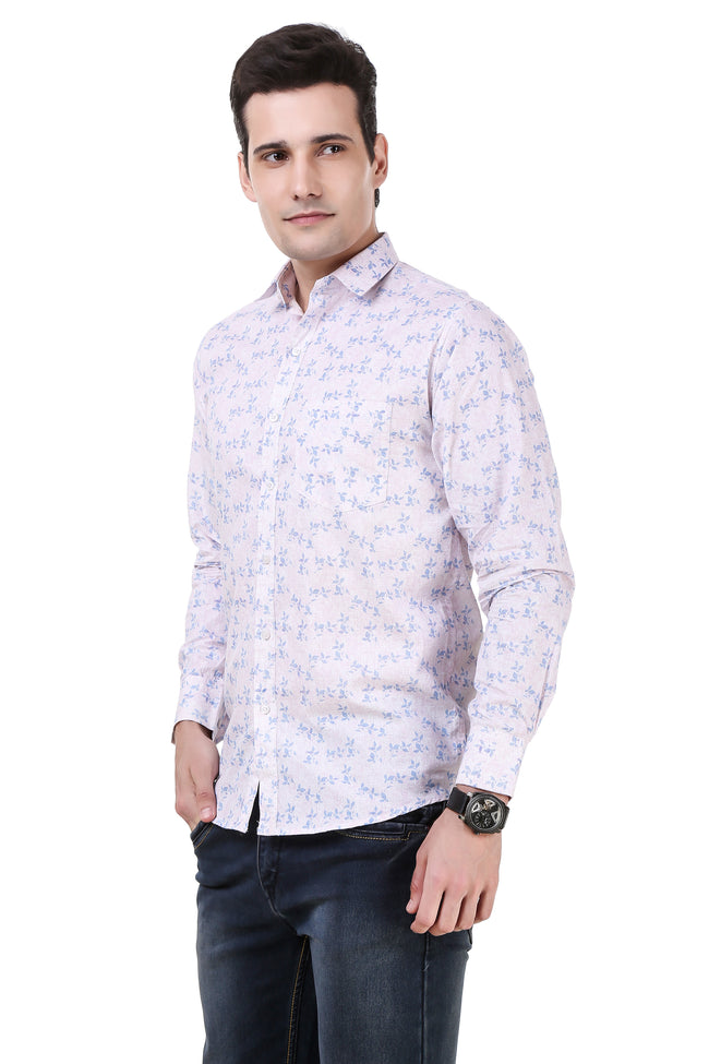 Floral Printed Tailored Fit Lavender Cotton Shirt