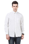 Dotted Tailored Fit White Cotton Shirt