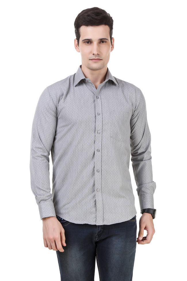 Dotted Tailored Fit Grey Cotton Shirt