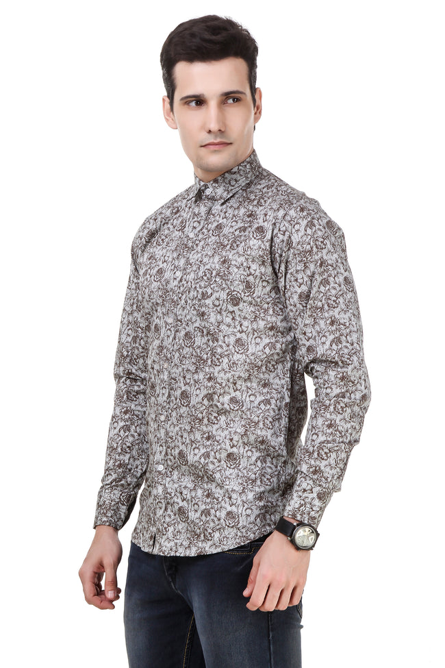 Floral Printed Tailored Fit Grey Cotton Shirt