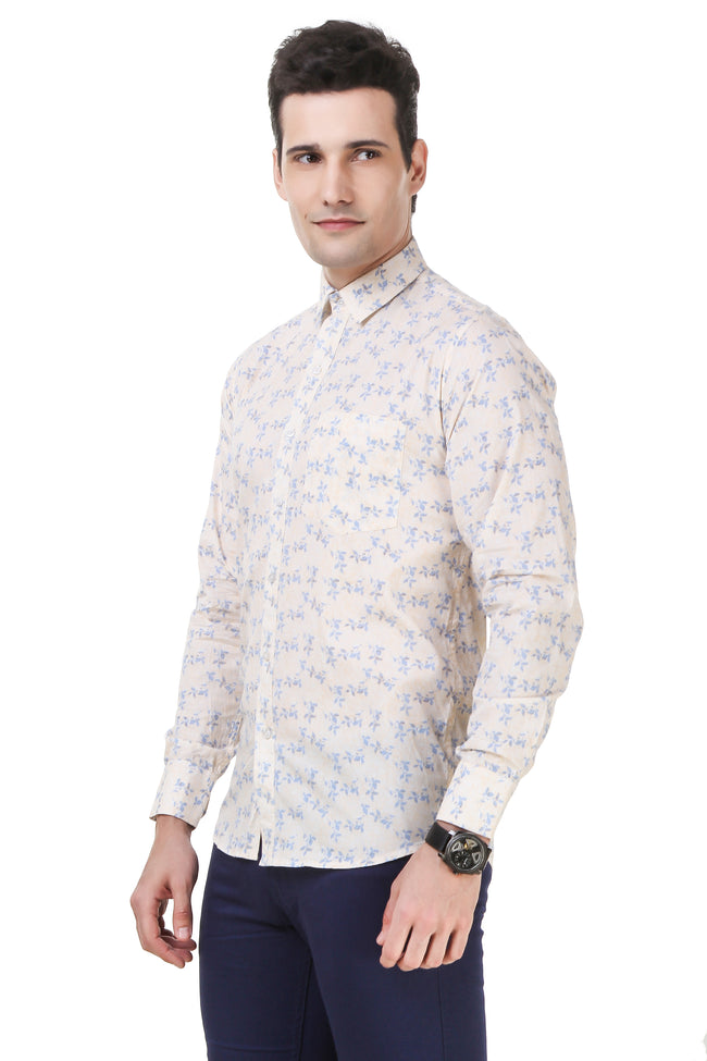 Floral Printed Tailored Fit Peach Cotton Shirt