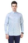 Printed Tailored Fit Sky Blue Cotton Shirt
