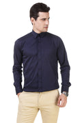 Solid Tailored Fit Navy Blue Cotton Shirt