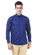 Solid Tailored Fit Royal Blue Cotton Shirt