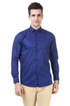 Solid Tailored Fit Blue Cotton Shirt