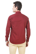 Solid Tailored Fit Maroon Cotton Shirt