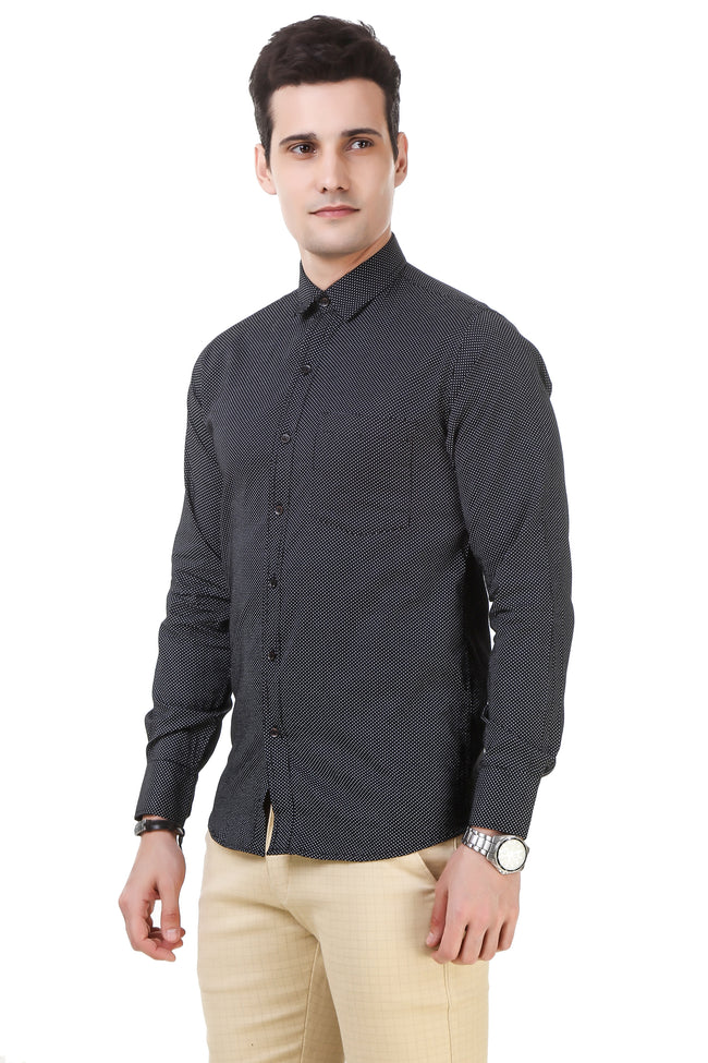 Solid Tailored Fit Black Cotton Shirt