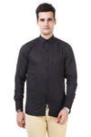 Printed Tailored Fit Black Cotton Shirt