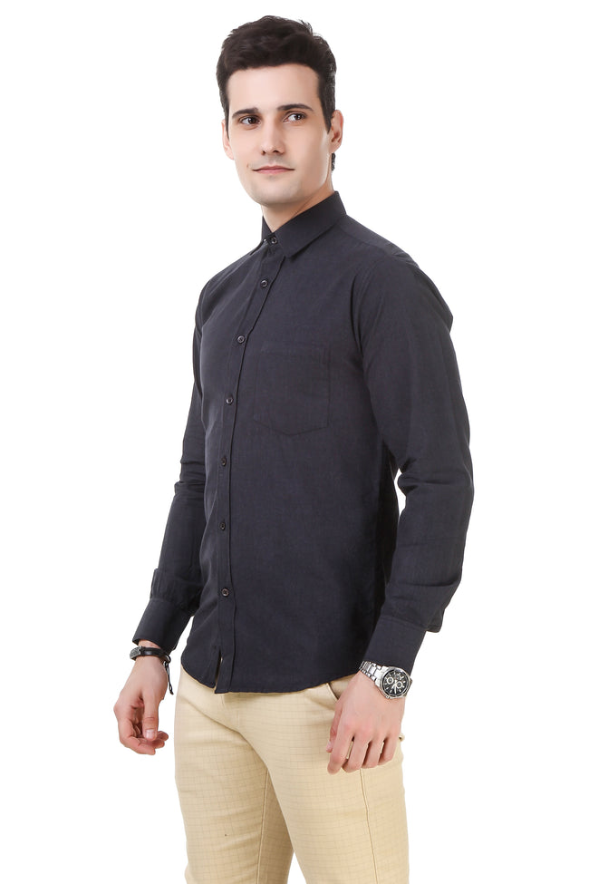 Solid Tailored Fit Charcoal Cotton Shirt