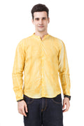 Dyed Tailored Fit Yellow Cotton Shirt [ Holi Collection ]