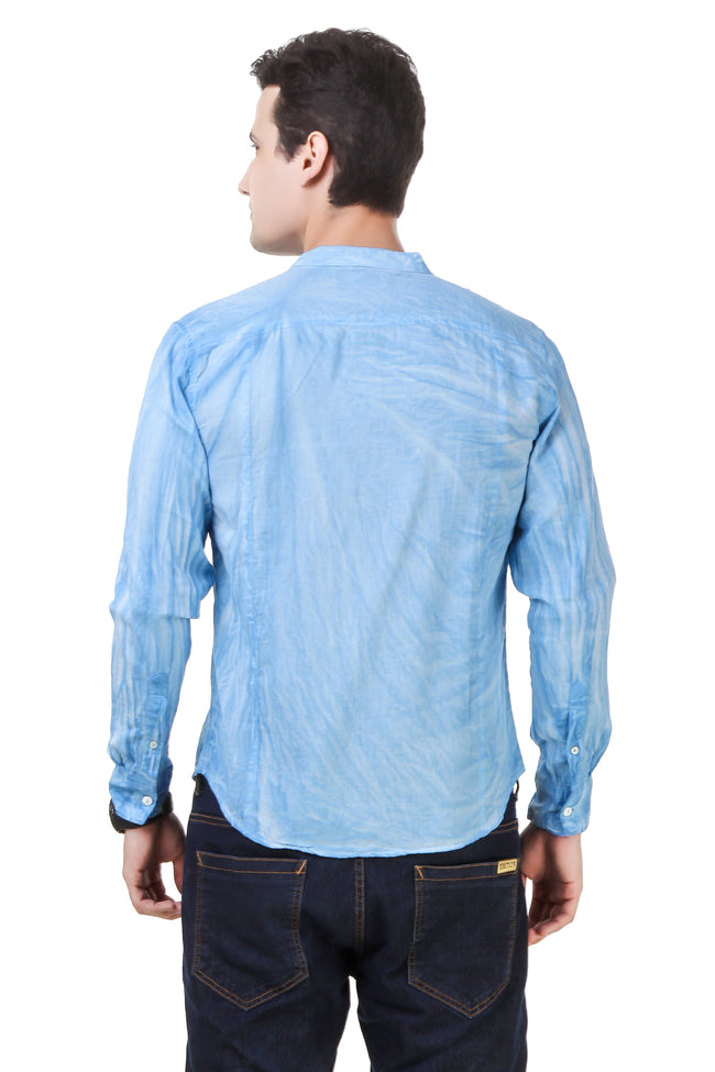 Dyed Tailored Fit Blue Cotton Shirt [ Holi Collection ]