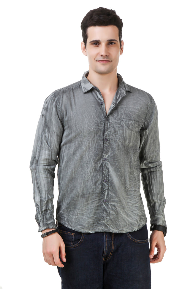 Dyed Tailored Fit Grey Cotton Shirt [ Holi Collection ]