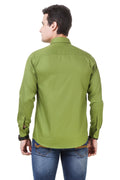 Solid Tailored Fit Green Cotton Shirt