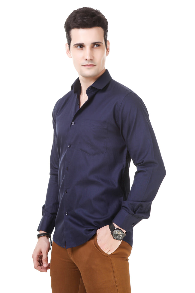 Solid Tailored Fit Dark Blue Cotton Shirt