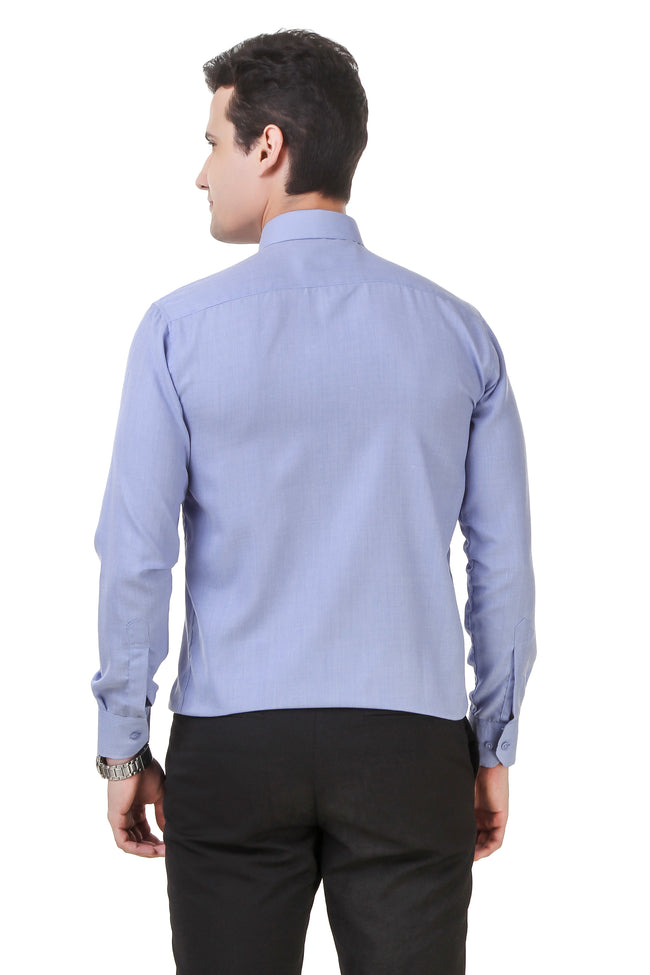 Solid Tailored Fit Light Blue Cotton Shirt