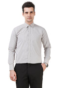 Solid Tailored Fit Grey Cotton Shirt