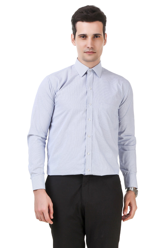 Striped Tailored Fit Light Sky Blue Cotton Shirt