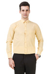 Solid Tailored Fit Yellow Cotton Shirt