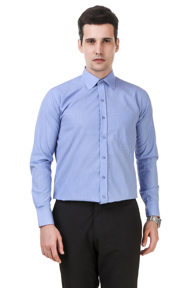 Dotted Tailored Fit Sky Blue Cotton Shirt