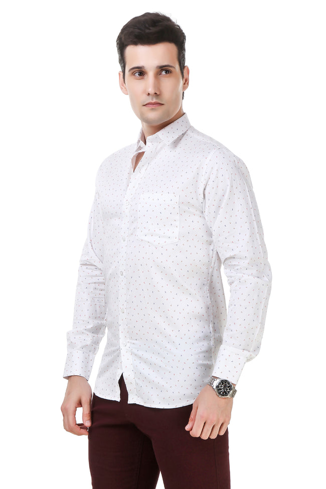 Printed Tailored Fit white Cotton Shirt