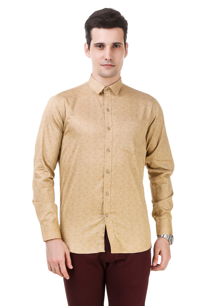 Printed Tailored Fit Mustard Cotton Shirt