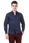 Dotted Tailored Fit Navy Blue Cotton Shirt