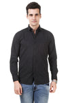 Dotted Tailored Fit Black Cotton Shirt